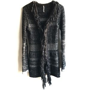 Free People Chunky Sweater Fringe Duster Gray M